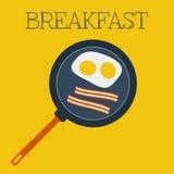 Petit déjeuner plat de vecteur avec les oeufs brouillés et illustration stock