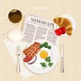 Petit déjeuner réglé avec le lard et les oeufs Vue supérieure mealtime illustration stock
