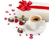 Petit déjeuner romantique avec du café Photo stock