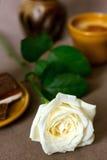 Petit déjeuner romantique avec la rose de blanc Photos libres de droits