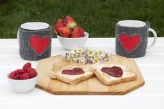Petit déjeuner romantique dans un jardin Photographie stock libre de droits