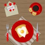 Petit déjeuner romantique pour le jour du ` s de Valentine illustration stock