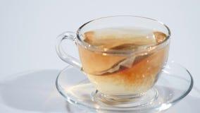 Petit déjeuner, thé brassé Sachet à thé dans la tasse avec de l'eau chaude clips vidéos