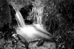 Petit détail de cascade noir et blanc Images stock