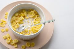 Petit d?jeuner sain avec les cornflakes et le lait au-dessus du fond blanc image stock