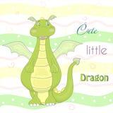Petit dragon mignon dans le style de bande dessinée Illustration comique témoin Photo stock