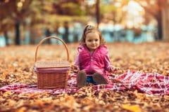 Petit enfant, bébé riant et jouant en parc d'automne photo stock