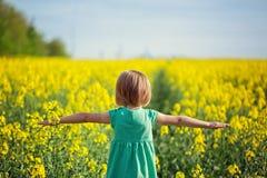 Petit enfant courant sur le champ jaune dans le jour d'été ensoleillé Vue arrière image stock