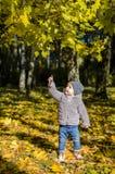 Petit enfant dans la forêt d'automne Photographie stock libre de droits