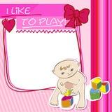 Petit enfant de carte postale jouant avec des blocs Images libres de droits