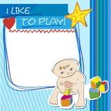 Petit enfant de carte postale jouant avec des blocs Photographie stock
