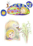 Petit enfant et oiseau drôle de chant illustration libre de droits