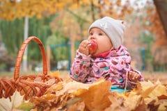 Petit enfant heureux, bébé jouant en automne photo stock