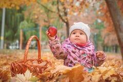 Petit enfant heureux, bébé jouant en automne images stock