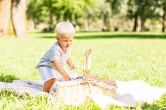 Petit enfant mignon ayant un pique-nique dans le parc photographie stock libre de droits