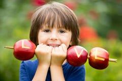 Petit enfant mignon, garçon, tenant un signe d'amour, fait à partir des pommes, l Image libre de droits