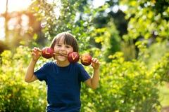 Petit enfant mignon, garçon, tenant un signe d'amour, fait à partir des pommes, l Photos stock