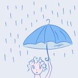 Petit enfant mignon sous la pluie Image stock