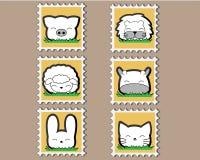 Petit ensemble animal mignon de timbre Photo libre de droits