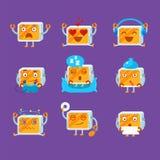Petit ensemble d'Emoji de robot Image libre de droits