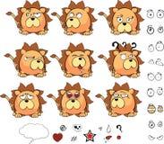 Petit ensemble mignon d'expressions de style de boule de lion illustration stock