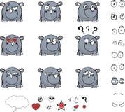Petit ensemble mignon d'expressions de style de boule de rhinocéros illustration stock