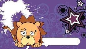 Petit fond mignon 2 d'expression de style de kawaii de lion illustration stock