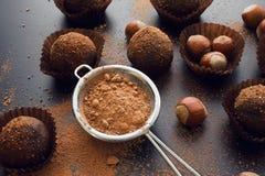 Petit four de chocolat avec des noisettes Photographie stock