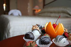 Petit four in the hotel room Royalty Free Stock Photography