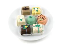 Petit fours. A plate of petit fours Stock Image