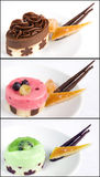 Petit fours collage. Collage with three petit fours: chocolate, red fruits and kiwi Stock Photo