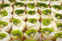 Petit fours with kiwi. Small cakes (petit four) with custard and kiwi on top. Shallow DOF. Sharp focus on second line Stock Photography