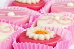 Petit fours. Pink petit fours close up Stock Photos