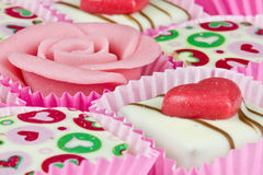 Petit fours. Pink petit fours close up Royalty Free Stock Photo