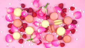 Petit Fours presentation of macarons with berries and rose petal Stock Images
