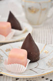 Petit Fours. Punschkrapfen, typical austrian Petit fours biscuits Royalty Free Stock Images