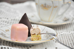 Petit Fours. Punschkrapfen, typical austrian Petit fours biscuits Stock Images