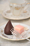 Petit Fours. Punschkrapfen, typical austrian Petit fours biscuits Royalty Free Stock Image