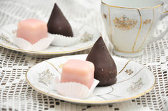 Petit Fours. Punschkrapfen, typical austrian Petit fours biscuits Stock Photography