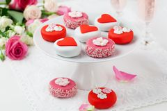 Petit fours for Valentine's Day Stock Photo