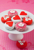 Petit fours for Valentine's Day Stock Photos