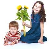 Petit frère et soeur avec un bouquet de Photo libre de droits