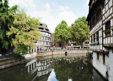 Petit France area of Strasbourg. Crowded by thousands of tourists Petit France area of Strasbourg in best time of season on August 21, 2010. This area is famous Royalty Free Stock Image