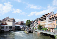 Petit France district in Strasbourg. Panoramic view of Petit France district in Strasbourg, no visible faces and logos Stock Photography