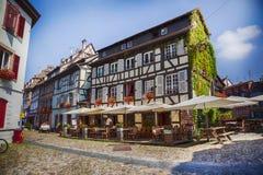Petit-Frankrike - del av den gamla staden, Strasbourg, Frankrike, Juli 2014 Arkivfoton