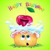 Petit gâteau émotif mignon et cerise drôle illustration de vecteur