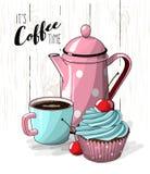 Petit gâteau avec de la crème et la cerise bleues, tasse de pot de café et de thé rose sur la texture en bois blanche simple, ill Image libre de droits