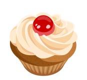 Petit gâteau avec de la crème et la cerise. illustration stock