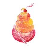 Petit gâteau avec la cerise Photo libre de droits