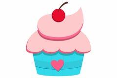 Petit gâteau avec la cerise illustration libre de droits